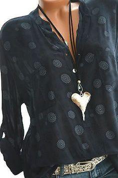 ITALY Tunika Oversize Hemd Bluse Fischerhemd MANDALAS 42 44 46 Dunkelblau NEU