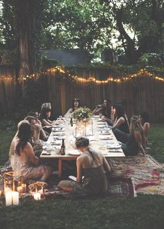 Outdoor party at a low picnic table with Grace & Guts
