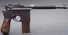 Mauser C96 'M1932′ Schnellfeuer machine pistol  Manufactured possibly in Spain or China c.1927-30′s, but certainly not by Mauser. 7,63x25mm Mauser 20-round detachable box magazine, short recoil select-fire, air cooling fins. So many copies of this pistol were made, Astra made a Schnellfeuer variant even before the official one came out.