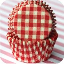 Red gingham baking cups 50 for $3.75