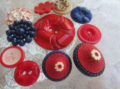 Vintage Buttons  Cottage chic mix of  red off by pillowtalkswf, $7.50