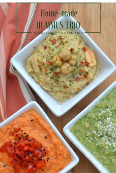 What's better than a plate of hummus? A plate with 3 types of hummus !! Spread it on a wrap, add some grilled veggies and relish it or Simply enjoy it with whole wheat pita bread or Veggies for a delicious fiber-filled snack. http://wp.me/p7oUc4-1B8