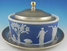 Antique Wedgwood Jasperware and EPNS  3 piece Butter Dish