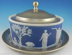 Antique Wedgwood Jasperware and EPNS  3 piece Butter Dish