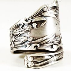 Art Nouveau Ode to Corn Sterling Silver Spoon Ring by Spoonier, $72.00