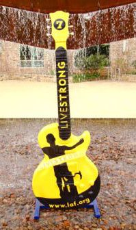 LiveStrong Guitar - Visual Artist: David Mider - Display Location: 600 West Street - Sponsor: Capital Sports and Entertainment Guitar Art, Music Guitar, Austin Texas, Guitars, Musicals, Instruments, David, Entertainment, Display