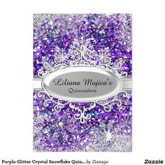 Purple Glitter Crystal Snowflake Quinceanera 5x7 Paper Invitation Card