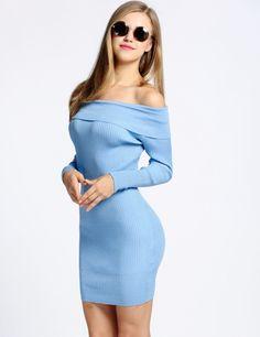 Product Description: New Women's Off Shoulder Long Sleeve Blue/Pink Bodycon Sweater Dress. Material: Knitting, 2 Colors: Rose Pink, Light Blue, Design: Off Shoulder, Pencil Dress, Season: Spring, Autu