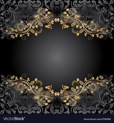 Background vector image on VectorStock Flower Backgrounds, Flower Wallpaper, Black Backgrounds, Wallpaper Backgrounds, Gold Background, Background Patterns, Background Images, Wedding Invitation Background, Beautiful Dark Art
