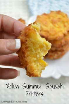 Yellow Summer Squash Fritters or zucchini Summer Squash Recipes, Summer Recipes, Yellow Zucchini Recipes, Summer Squash Soup, Summer Squash Casserole, Yellow Summer Squash, Fried Squash Recipes, Yellow Squash Casserole, Vegetable Dishes
