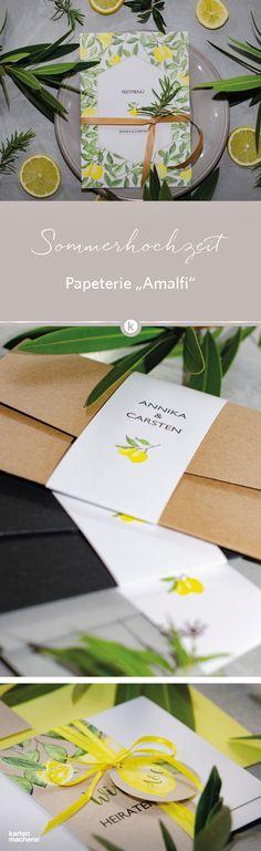 Ihr plant eure Hochzeit im Sommer oder vielleicht sogar im Ausland? Die sonnigen Zitronen und das satte Grün der Blätter unserer Papeterie im Design 'Amalfi' holt den Sommer auf eure Hochzeitspapeterie.      #sommerhochzeit #einladungskarten #hochzeitseinladungen #hochzeit #papeterie #hochzeitsinspiration #kartenmacherei Amalfi, Diys, Tableware, Dessert, Design, Wedding On The Beach, Card Wedding, Invitation Cards, Summer