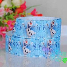 10 Yards 1' Frozen Snowman Blue Cartoon Movie Printed Ribbon, DIY Gift Polyester Grosgrain Ribbon * Click on the image for additional details.