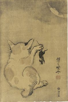 Cat with mouse , Kawanabe Kyosai,1870