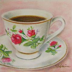 tea in a rose teacup