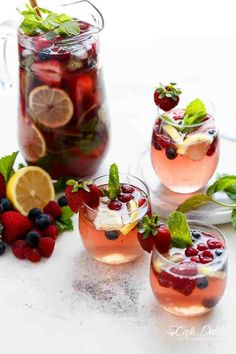 A beautiful and refreshing spin on a traditional sangria using a mixture of frozen berries for a full berry flavour, a simple to make strawberry syrup, and the sweet Italian tangy-sweet citrus from limoncello!   https://cafedelites.com