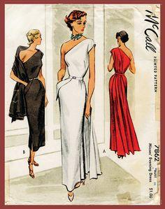 1940 1950 équipé de patron de couture vintage robe de soirée robe de cocktail un épaule repro 30 du buste drapé corsage à caissons anglais & Français