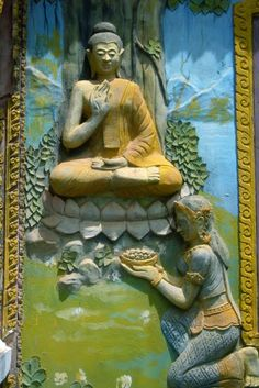 Sujata offers rice & milk to the Buddha -- the nourishment enables him to choose the middle path and achieve enlightenment