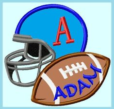 Football with Helmet Personalized Applique by LunaEmbroidery Applique Embroidery Designs, Machine Embroidery, Baby Boy Quilts, Hardware Software, All In One, Football Helmets, Baseball, Sewing, Digital