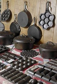 Cast iron collector Jim Nance sells cast-iron skillets, Dutch ovens, muffin pans, waffle irons and brownie pans, at an antique show at Scott. Cast Iron Care, Cast Iron Pot, Cast Iron Dutch Oven, Cast Iron Cooking, It Cast, Skillet Cooking, Best Cast Iron Skillet, Cast Iron Stove, Iron Skillet Recipes