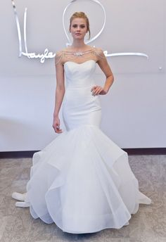 Crystal shoulder mermaid wedding dress from Blush by Hayley Paige | Hottest Dresses from New York Bridal Fashion Week Spring 2015
