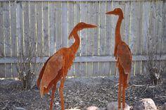 Metal Garden Art, Sculptured Heron Set of 2, unique gifts for women, unique gifts for men, yard art, garden art door northwindmetalart op Etsy https://www.etsy.com/nl/listing/75413416/metal-garden-art-sculptured-heron-set-of