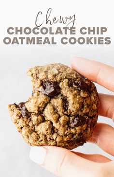 Our all-time favorite chewy oatmeal chocolate chip cookie recipe! These healthy gluten free cookies are made with quick oats   oat flour, coconut sugar, and are dairy-free friendly. Every bite is filled with gooey chocolate and so much decadent flavor! | asimplepalate.com #cookies #oatmealcookies #chocolatechipcookies #oatmeal Healthy Cookie Recipes, Healthier Desserts, Healthy Cookies, Apple Recipes, Fall Dessert Recipes, Fall Desserts, Flour Recipes, Baking Recipes, Vegan Gluten Free Cookies