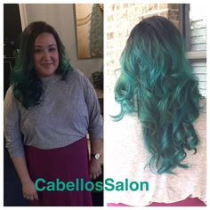 @val4b82 did this incredible blue and teal ombré that we are so in love with! #CabellosSalon #cabellostally #tealombre #ombre #peacockhair #love #hair #salon #spa #transformation #coloredhair #redken @redken5thave @redkenofficial @modernsalon @behindthechair_com #styleyourstory #hairstylist