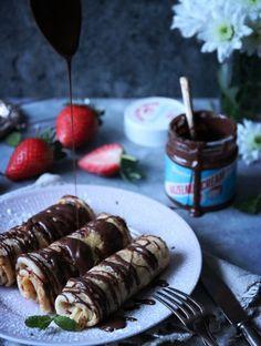 mjölk- och sockerfria pannkakor med mjöl av vete och rotfrukter och Barebells hazelnut cream