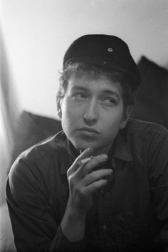 """1961 In his fisherman's cap    From the exhibition """"Bob Dylan, NYC 1961-64 - photographs by Ted Russell"""" at Gallery of Photography Ireland, Jan 21-Feb 21 2016, Curated by Chris Murray. Free for use only in the context of preview/review of the exhibition."""
