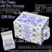 Gift Box Blue Poppies with Bow Decoupage