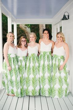 A Destination Wedding In The Florida Keys That Includes Palm Frond Print Bridesmaid Dresses Bold Tropical Flowers And Ocean Views