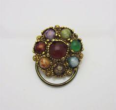 Vintage Jewellery Scarf Clip Art Glass Agate Scottish Design Gold Tone 1960s #AdornAnew