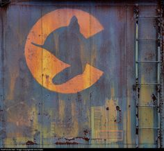 DuBois, PA 7/20/2012 - Rusting on the side of a long forgotten box car, the Chessie cat sleeps peacefully.