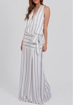 Vestido longo de linho com pala no quadril Ateen - powerlook-V-MOB