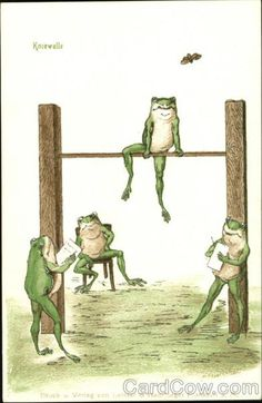 The Frog Olympics - not sure which sport? Funny Frogs, Cute Frogs, Frog Illustration, Frog Pictures, Frog Art, Little Panda, Frog And Toad, Reptiles And Amphibians, Whimsical Art