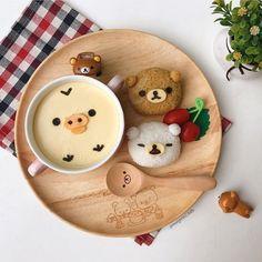 Rilakkumar rice balls & Kiiroitori chawanmushi by Margaret TatTa ( Cute Snacks, Cute Desserts, I Love Food, Good Food, Yummy Food, Bento Recipes, Baby Food Recipes, Japanese Sweets, Japanese Food