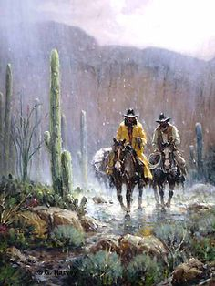 """Gift of Rain by G Harvey ~ Cowboys ride through """"cactus country"""" as rain pelts them and the landscape. Hopefully, the rain is followed by cooler temperatures. It certainly will be followed by beautiful flowering cactus encouraged by the moisture which is certainly a gift from God."""