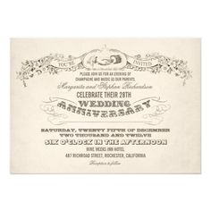 """vintage typography wedding anniversary invitations. stylish vintage anniversary invitation with typographic texts, floral ribbon, hands drawing and old rustic paper background. I suggest the """"Linen"""" or """"Felt"""" paper for this design."""