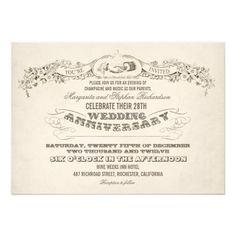 Vintage Typography Wedding Anniversary Invitations  Typography