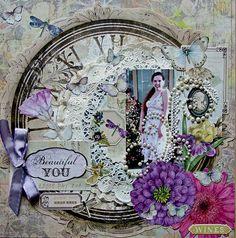 Layout: Beautiful You ~ Scrapbooking Inspiration ~ ♥ #scrapbooking #crafts #diy