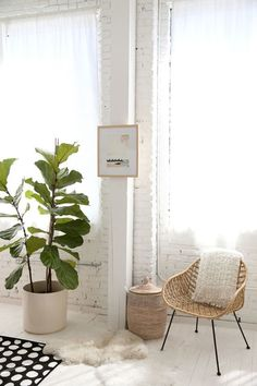 home inspirations for bedroom and living rooms with exposed brick and large windows.