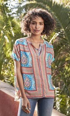 Pop Philosopher Top - pull-on top with geometric and paisley print.