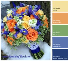 Butter yellow, tangerine, sage green, and blue palette. Pretty color scheme for a wedding/event or even a room in the home. Bouquet by Something Floral, Warren, MI.