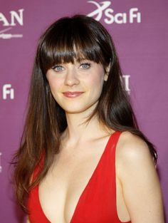 More Pics of Zooey Deschanel Long Straight Cut with Bangs (5 of 18) -