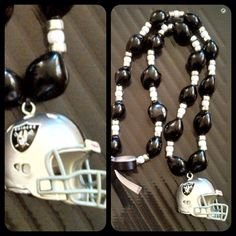 Oakland Raiders Kukui nut Necklace by FanFind on Etsy