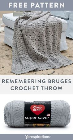 Free Remembering Bruges Throw crochet pattern using Red Heart Super Saver yarn. Nestle in with this beautifully soft blanket made up with oversized shell stitches and bruges edging. It's a unique crochet throw that adapts vintage Bruges lace-making techniques with cool retro appeal, so let's get started. #Yarnspirations #FreeCrochetPattern #CrochetAfghan #CrochetThrow #CrochetBlanket #RedHeartYarn #RedHeartSuperSaver