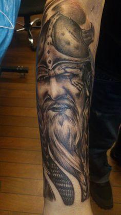 Amazing viking tattoo, cover-up of a tribal shark. Artist: Margrethe Sandvaer, X3M Tattoo, Norway.
