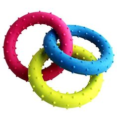 BECKYJust For Puppies Circle Ring Three Color Puppy Dog Teething Chew Toy Safe TPR Rubber Toy 72 inchRed Yellow Blue For Small Medium and Large Pets Pets Teething Toys >>> You can get more details by clicking on the image.(This is an Amazon affiliate link)