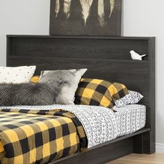 An open shelf runs the length of the South Shore Holland Full/Queen Headboard , offering plenty of display space. Attach this headboard to a full. Colorful Headboard, Weathered Oak, Headboard, South Shore Furniture, Headboard Storage, Furniture, Wooden Panel Headboard, Grey Oak, Bedroom Furniture