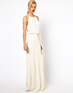 Mango Chain Trim Maxi Dress With Belt